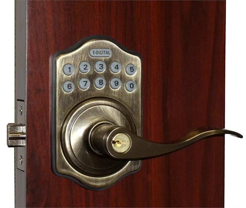 lockey e985 digital keyless electronic lever door lock. Black Bedroom Furniture Sets. Home Design Ideas
